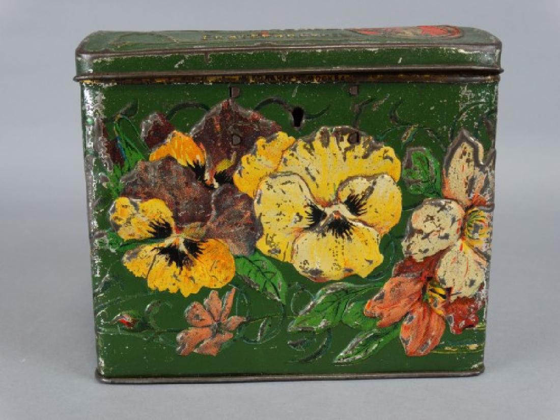 Antique Russian Lockable Tin with Pansies - 2