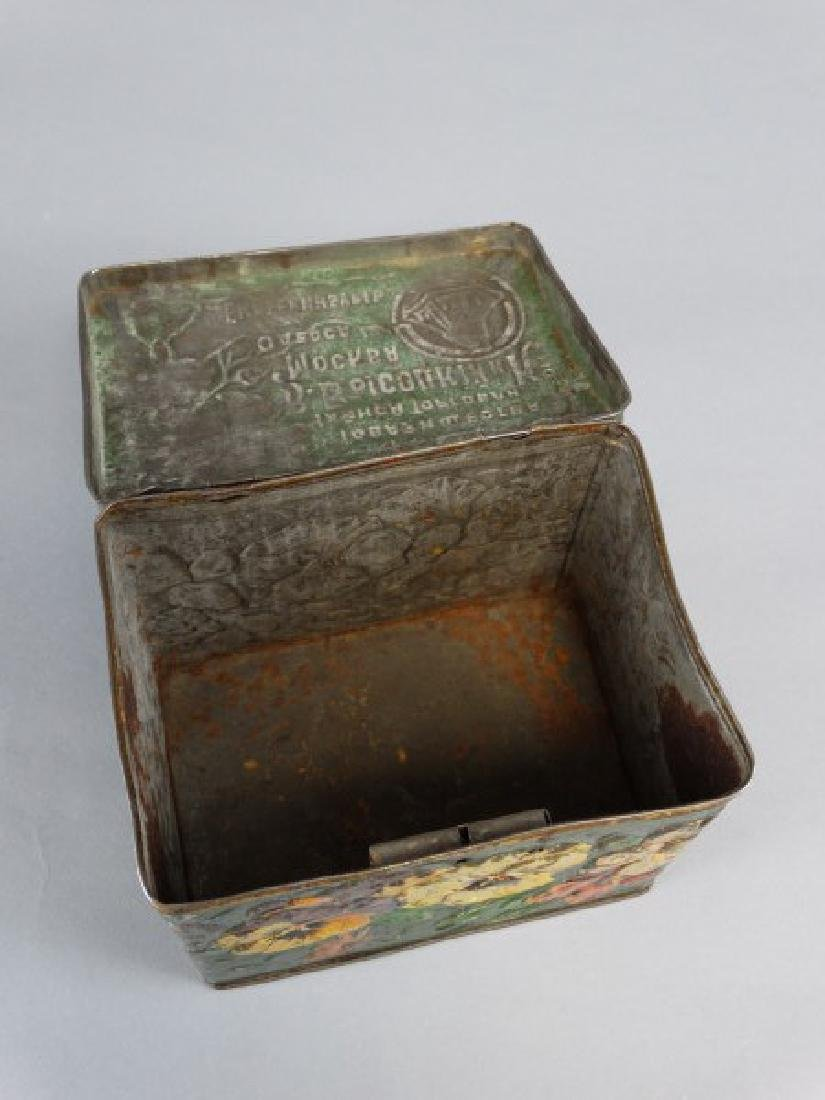 Antique Russian Lockable Tin with Pansies - 4