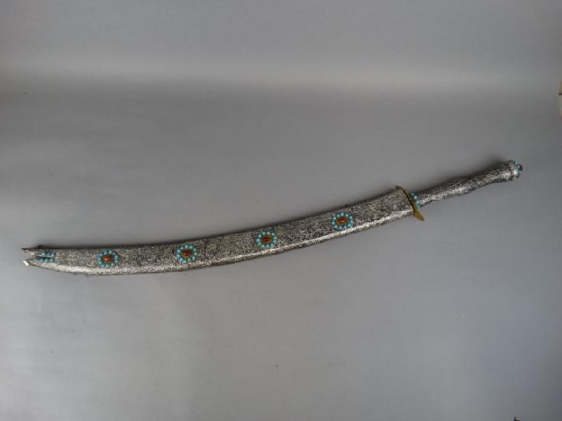 Arabic Sword w/ Silver Foil over Wood Sheath