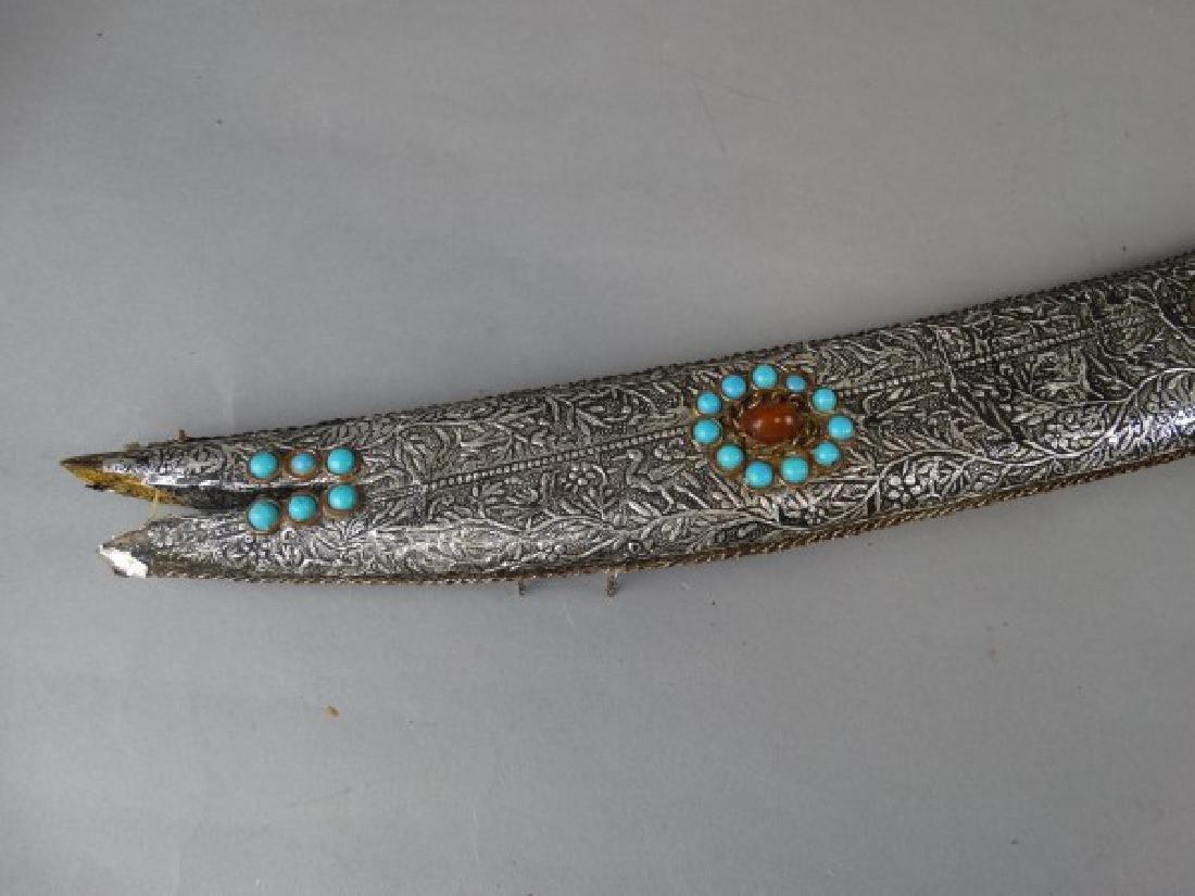 Arabic Sword w/ Silver Foil over Wood Sheath - 2