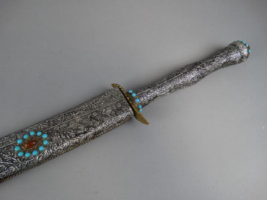 Arabic Sword w/ Silver Foil over Wood Sheath - 3