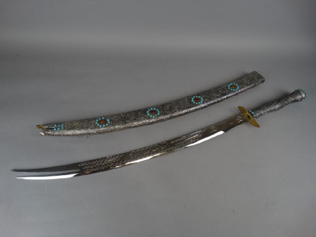 Arabic Sword w/ Silver Foil over Wood Sheath - 4