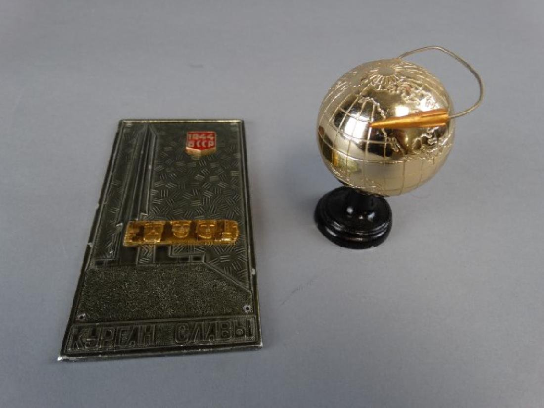 Soviet Space Race Plaque & Miniature Statue