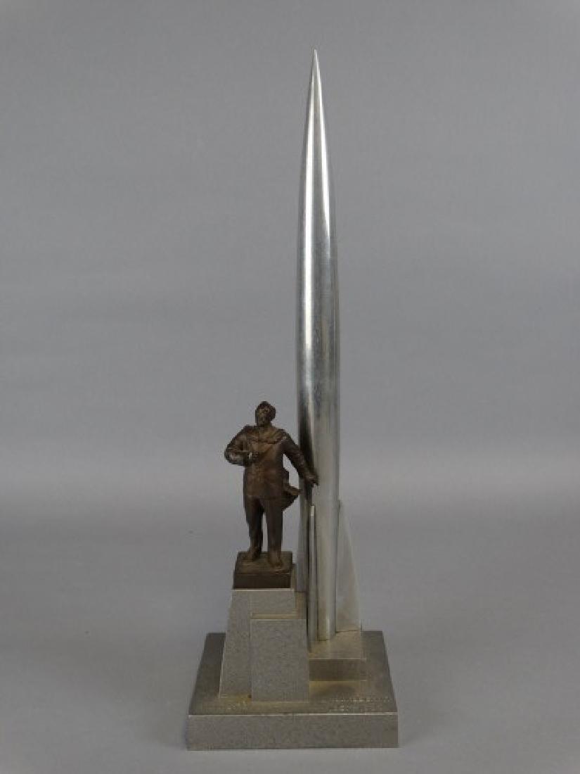 Soviet Space Race Age Rocket & Inventor Sculpture