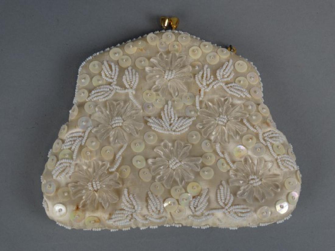 Ladies White Beaded Handbag - 2
