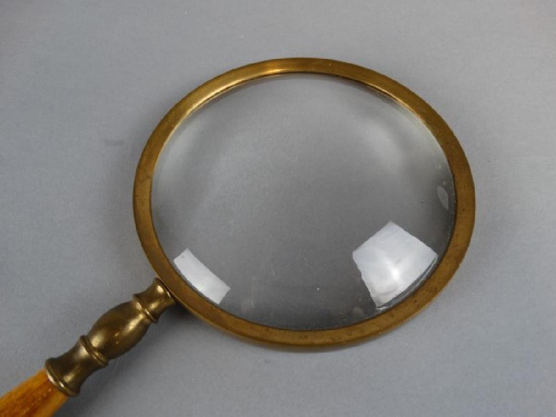 Vintage Brass and Wood Magnifying Glass - 2