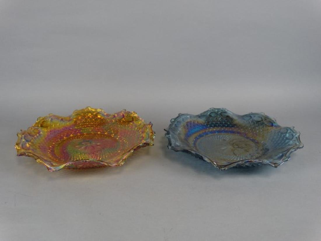 Lot of 2 Ruffle Edged Carnival Glass Bowls
