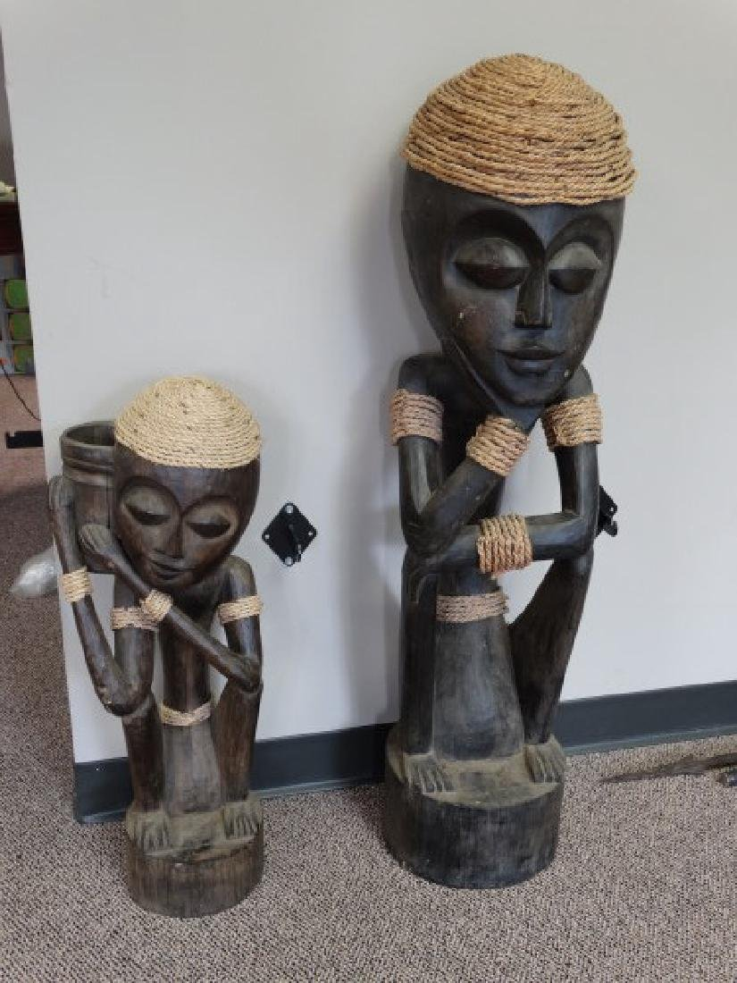 Pair of Carved Wooden African Statues