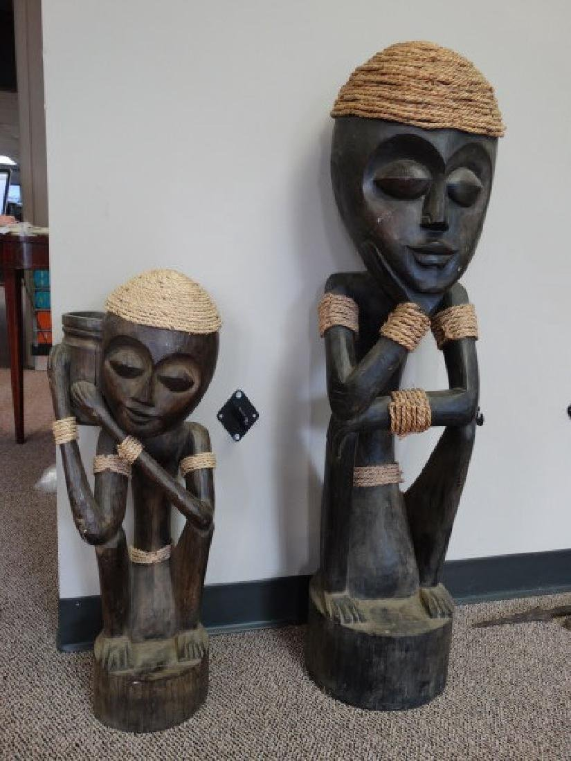 Pair of Carved Wooden African Statues - 2