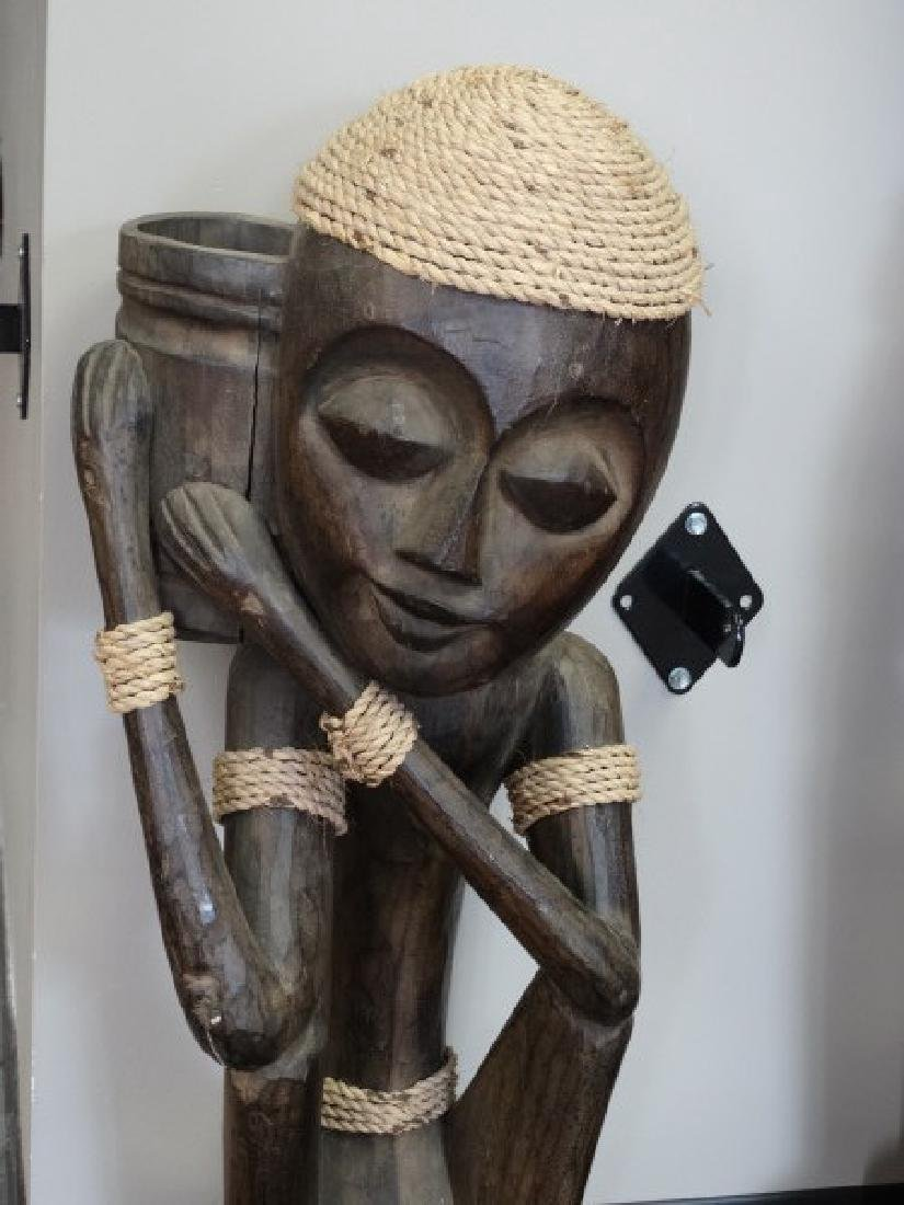 Pair of Carved Wooden African Statues - 3