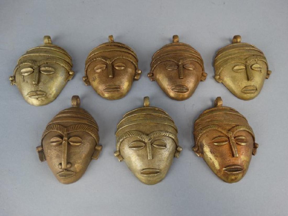 Lot of 7 African Bronze Passport Masks / Weights