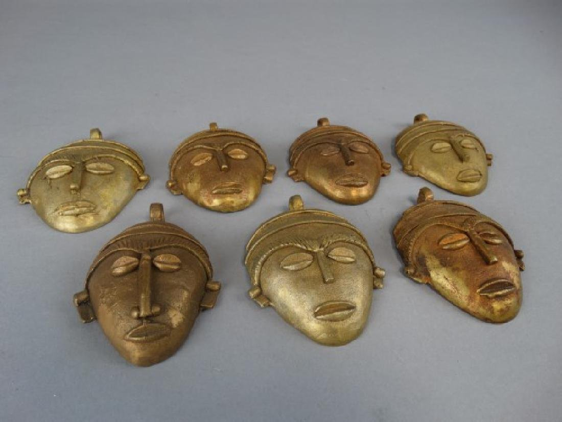Lot of 7 African Bronze Passport Masks / Weights - 2