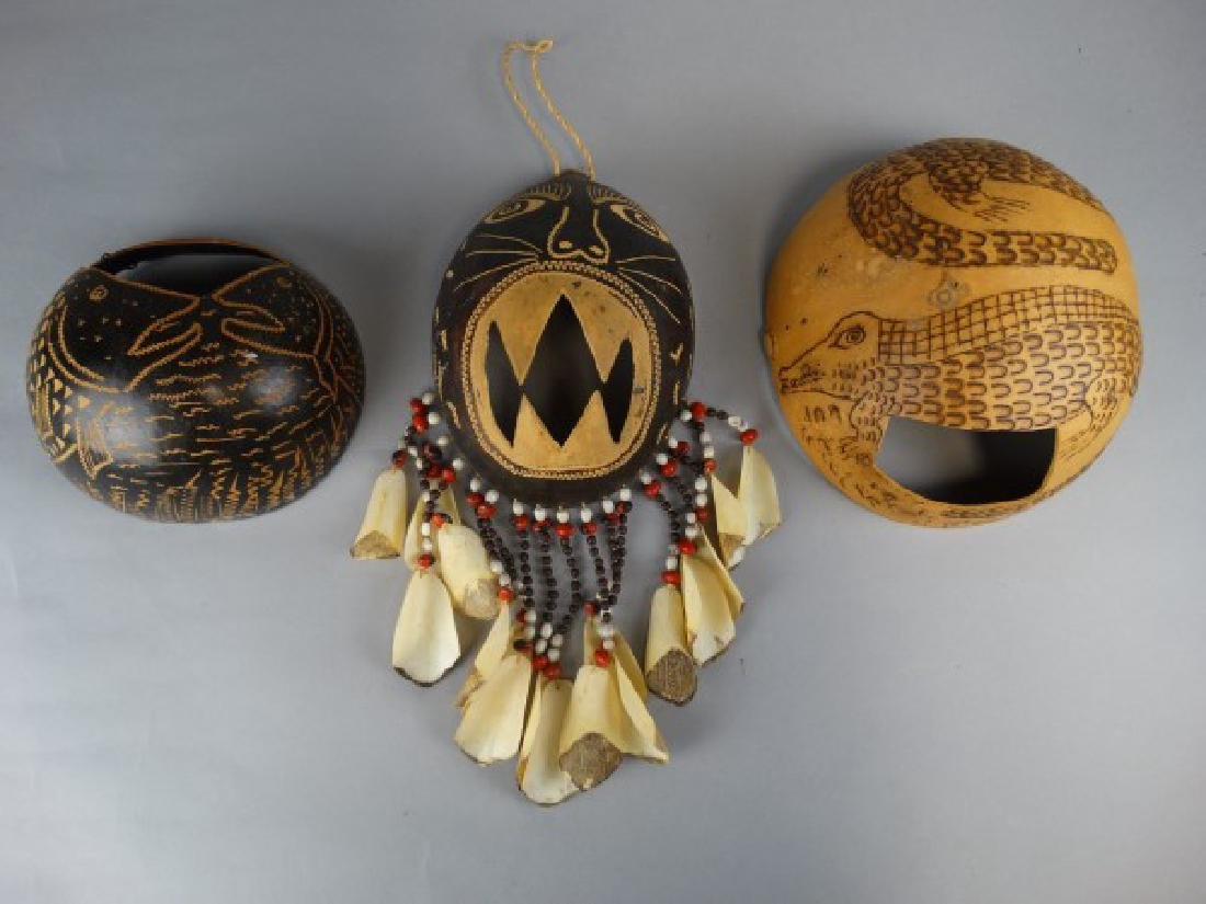 3 Gourd Masks from Ticuna People, Amazon Brazil
