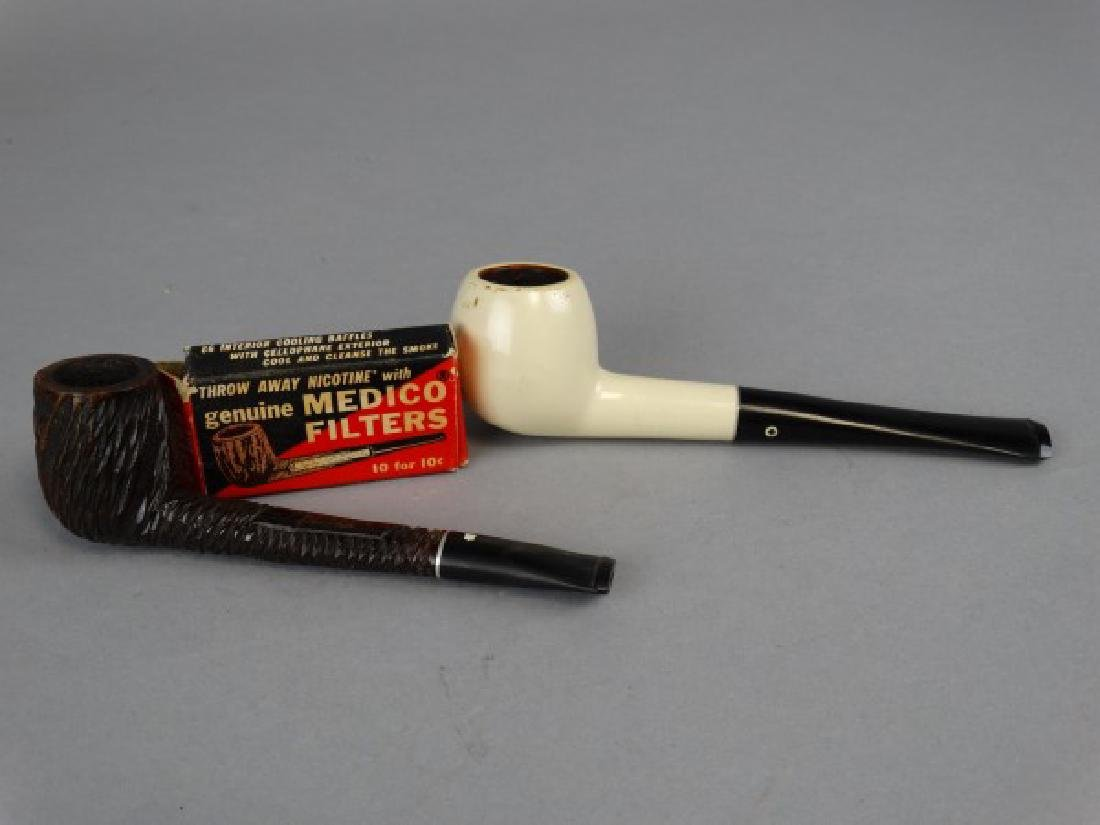 Lot of 2 Briar Pipes and Medico Filters