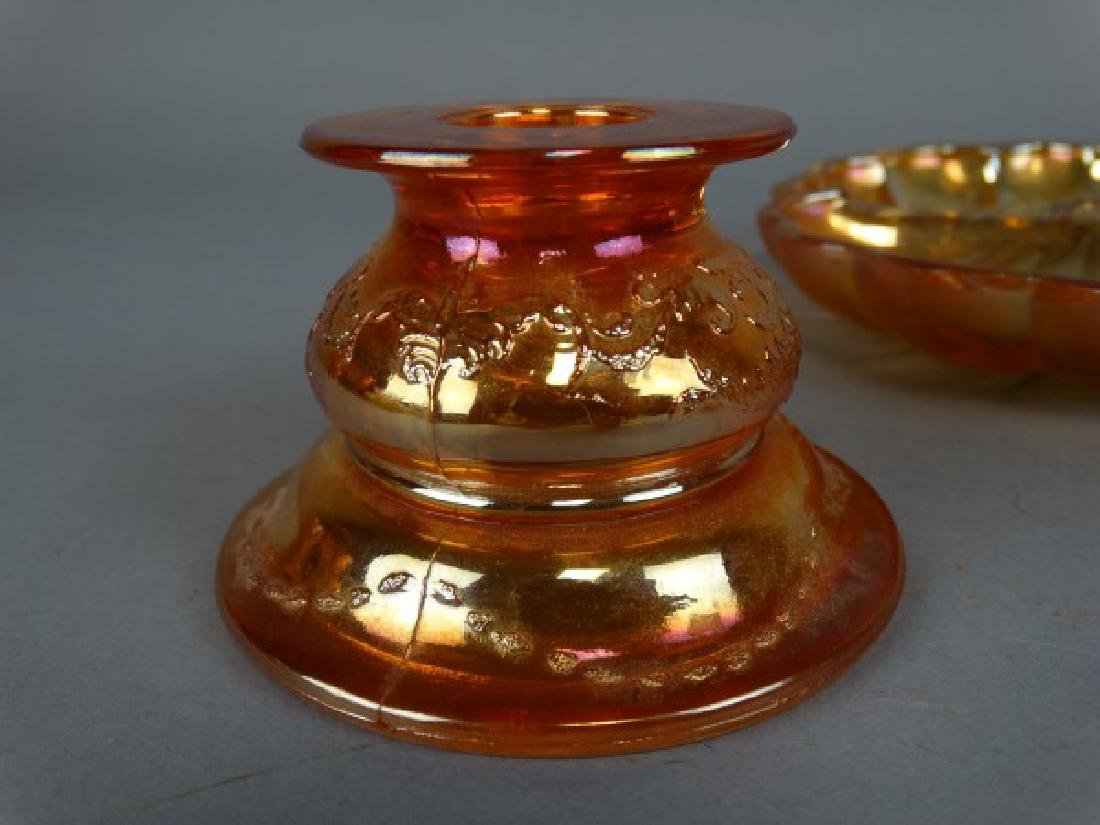 Lot of 2 Carnival Glass Dishes & Candlestick - 3