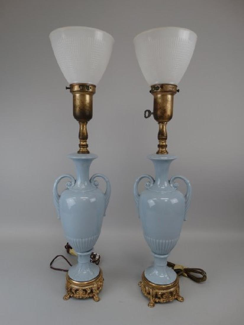 Pair of Blue Porcelain & Brass Lamps