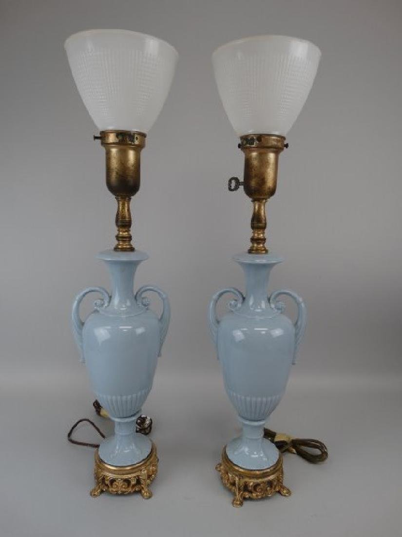 Pair of Blue Porcelain & Brass Lamps - 2