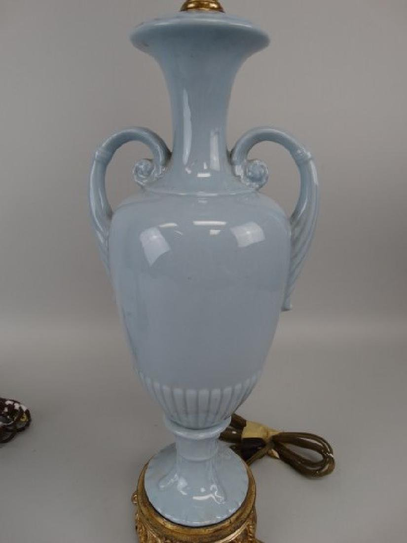 Pair of Blue Porcelain & Brass Lamps - 3