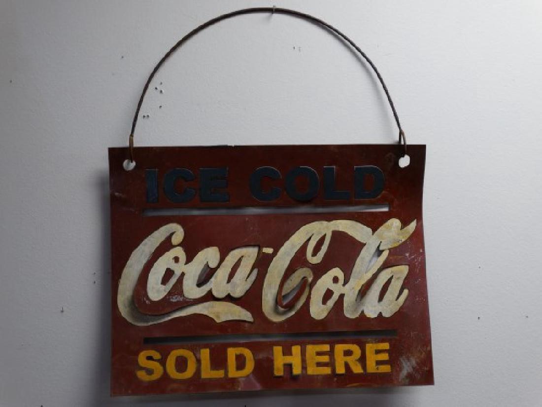 Vintage Painted Metal Coca-Cola Sign