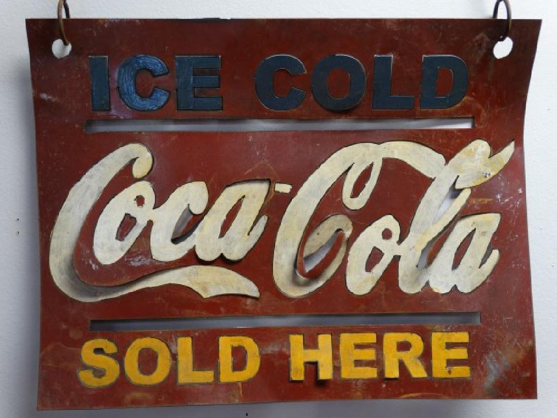 Vintage Painted Metal Coca-Cola Sign - 2