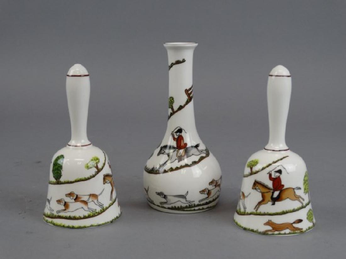 Crown Staffordshire Bells & Vase - Hunting Scene