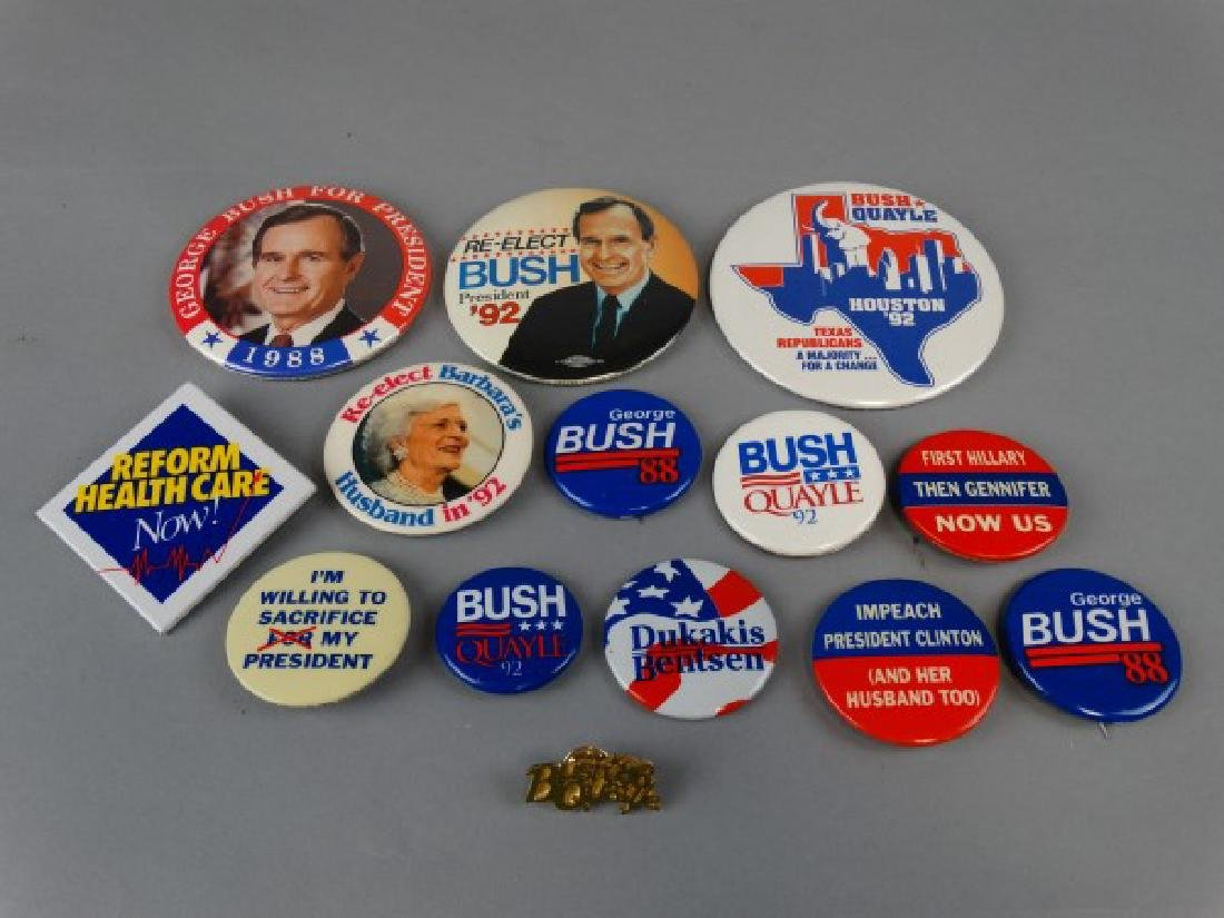 Lot of 14 Vintage Bush Presidential Buttons & Pin