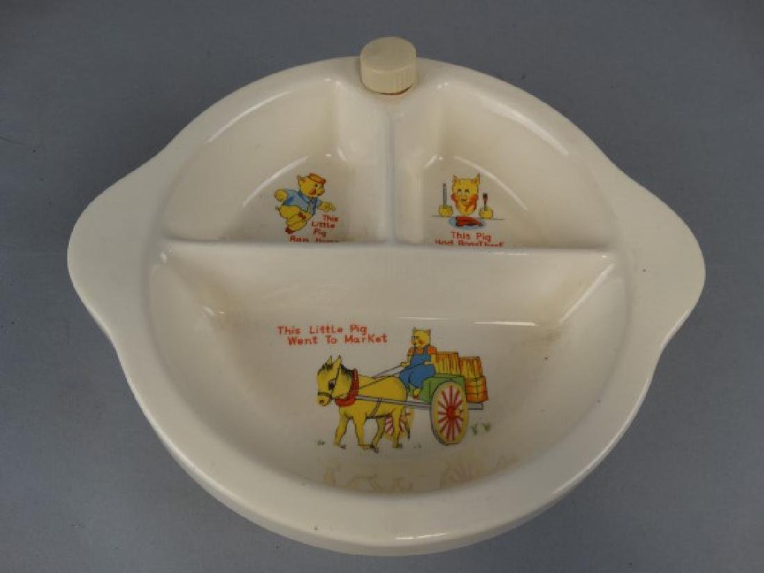 Little Pigs Themed Vintage Child's Warming Plate