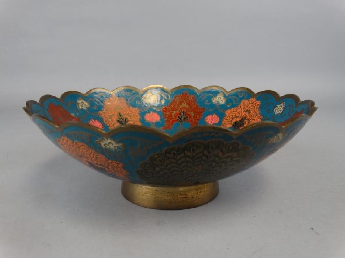 Enameled Brass Peacock Bowl