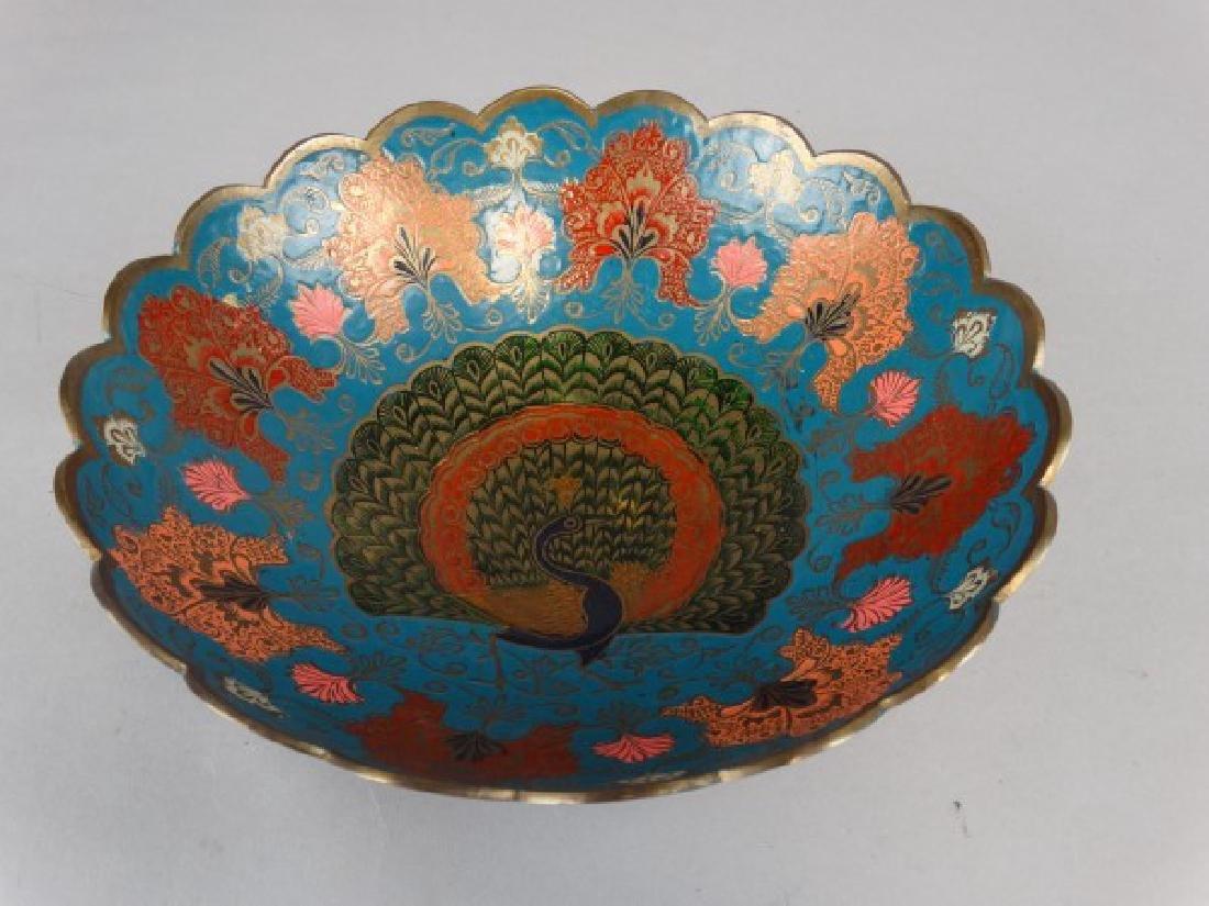 Enameled Brass Peacock Bowl - 2