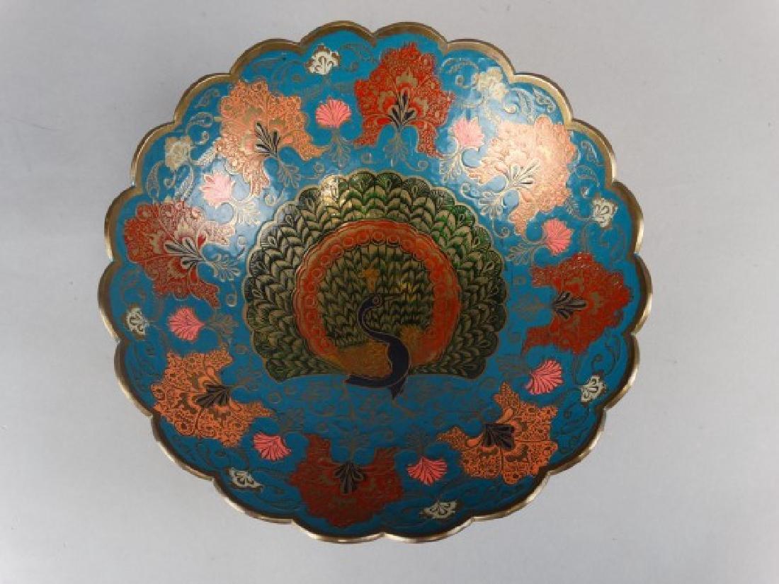 Enameled Brass Peacock Bowl - 3