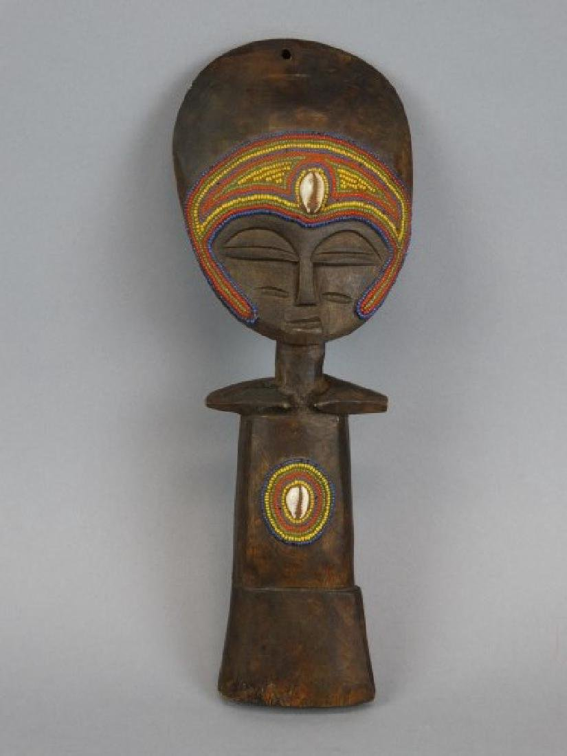 African Carved Masked Wood Fertility Idol