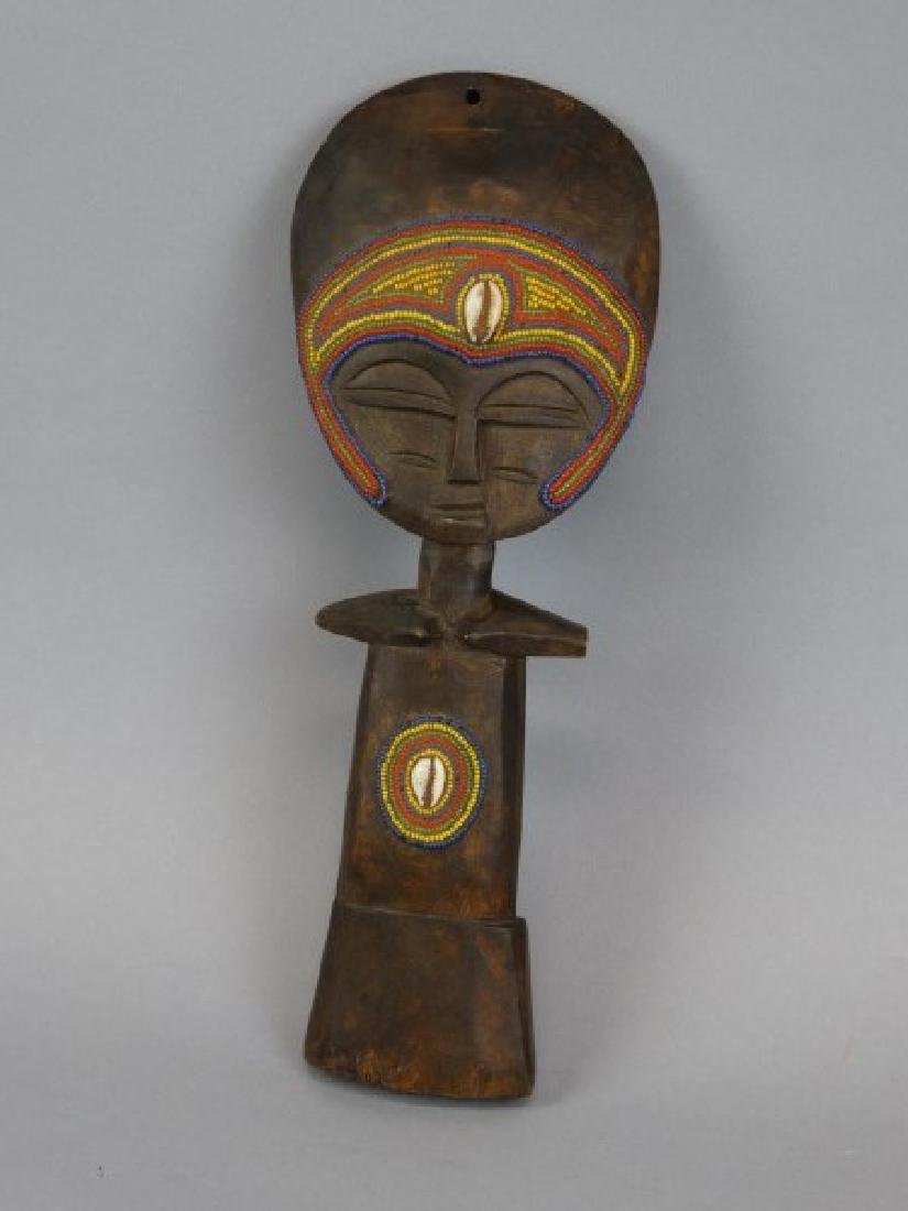 African Carved Masked Wood Fertility Idol - 2