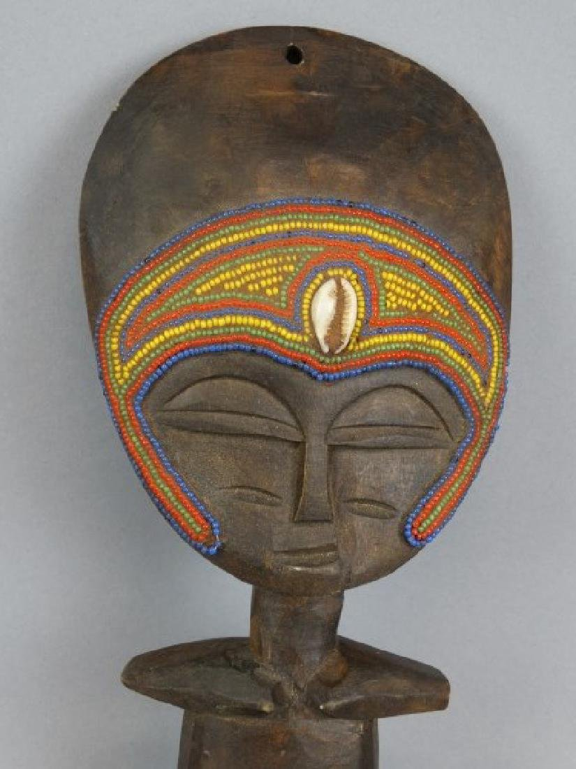African Carved Masked Wood Fertility Idol - 3