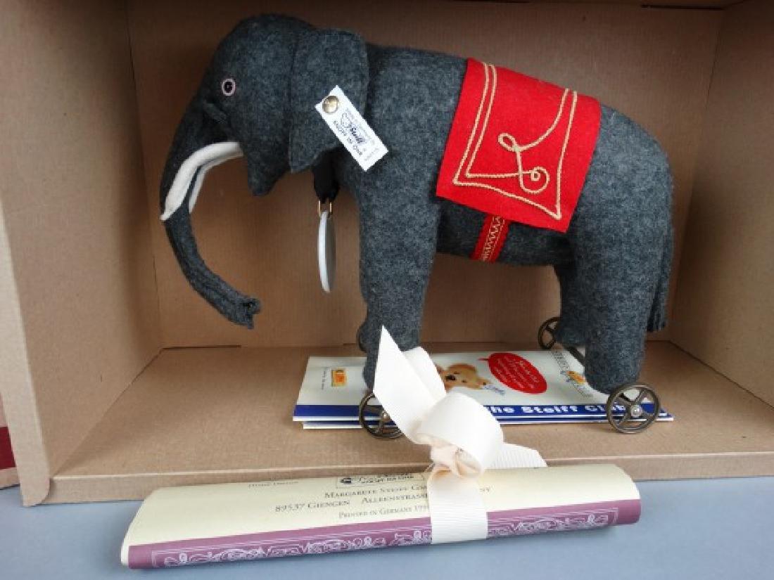 Steiff Club Edition Felt Elephant on Wheels Grey - 2