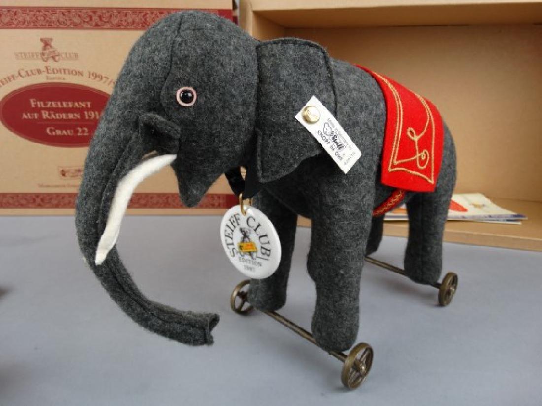 Steiff Club Edition Felt Elephant on Wheels Grey - 3