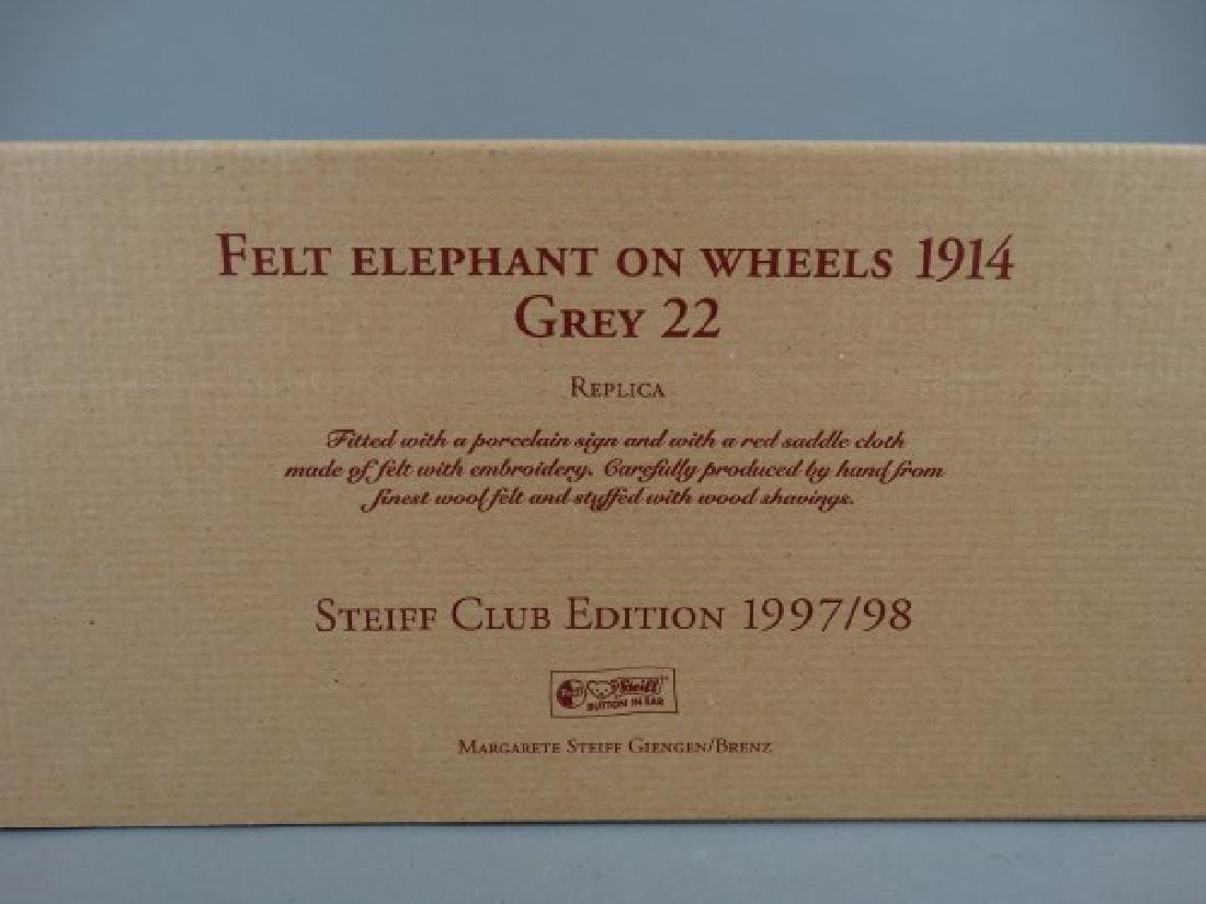 Steiff Club Edition Felt Elephant on Wheels Grey - 4