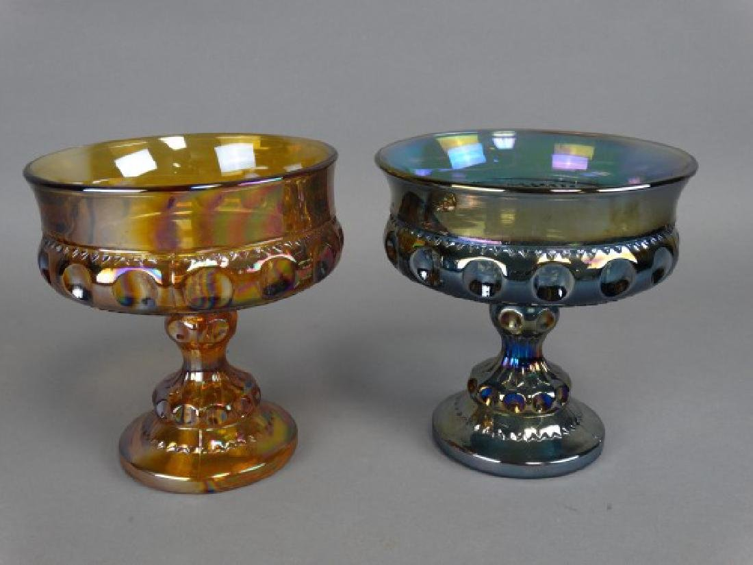 Lot of 2 Carnival Glass Compotes