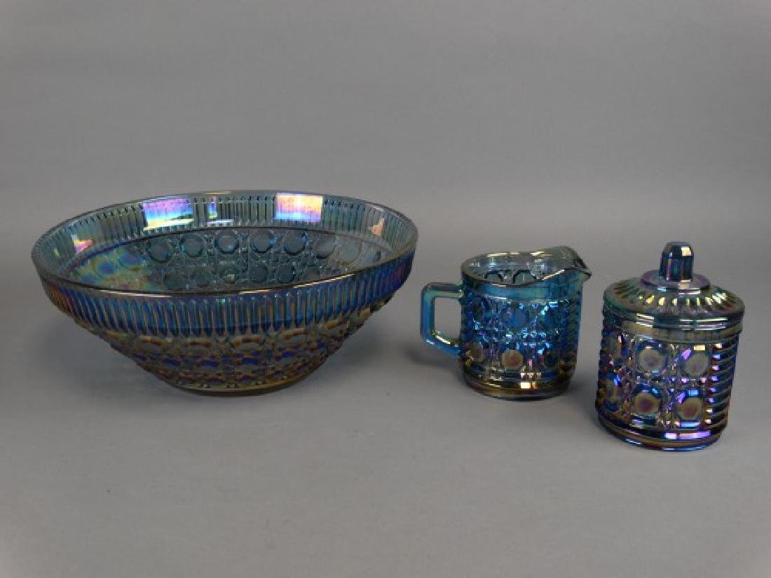 Carnival Glass Bowl & Sugar & Creamer Set