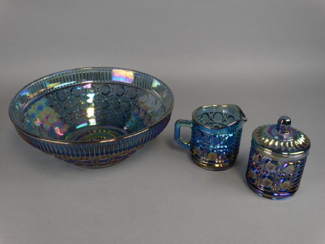 Carnival Glass Bowl & Sugar & Creamer Set - 2