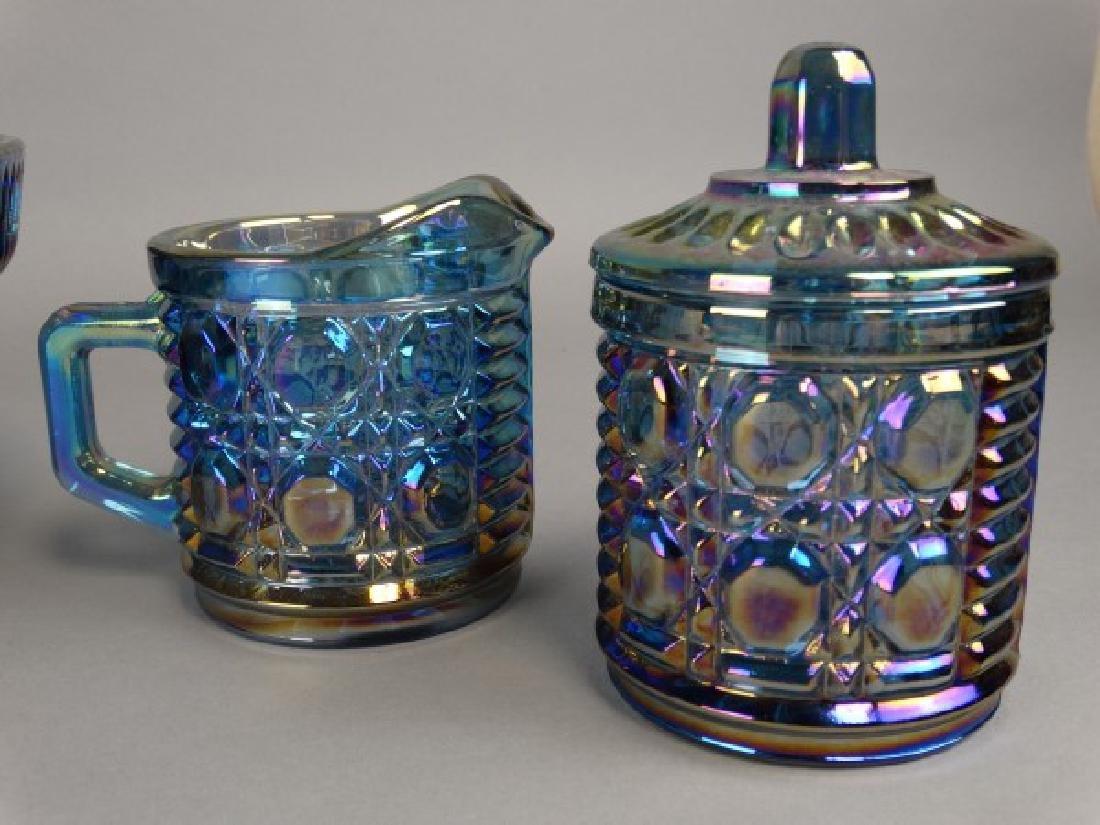 Carnival Glass Bowl & Sugar & Creamer Set - 3