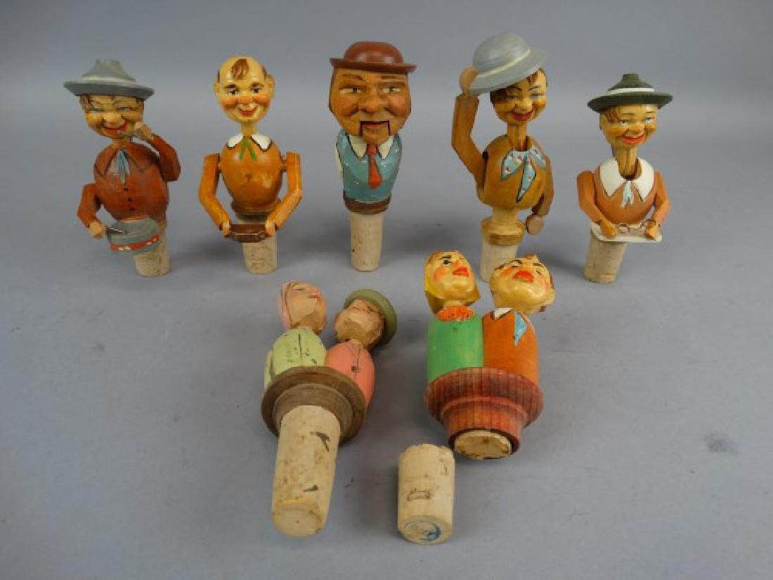 Lot of 7 German Carved & Animated Wine Stoppers