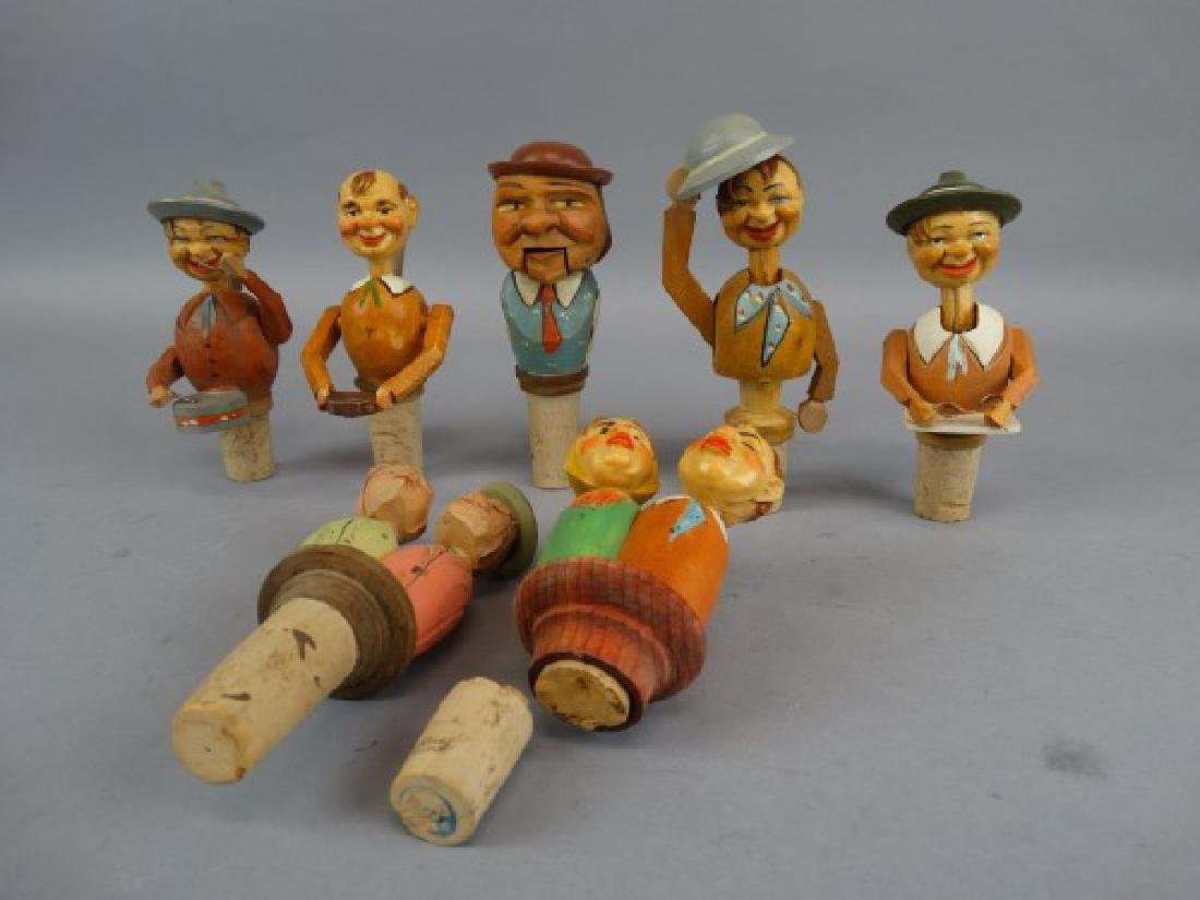 Lot of 7 German Carved & Animated Wine Stoppers - 2