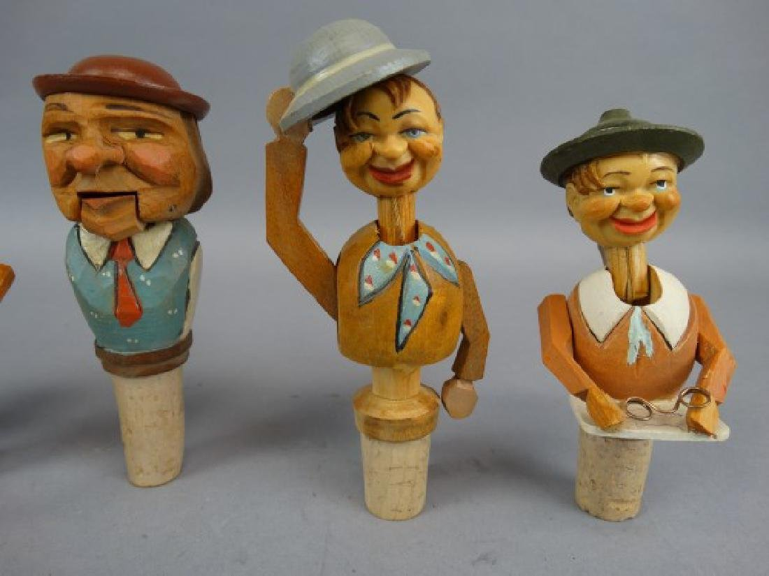 Lot of 7 German Carved & Animated Wine Stoppers - 3