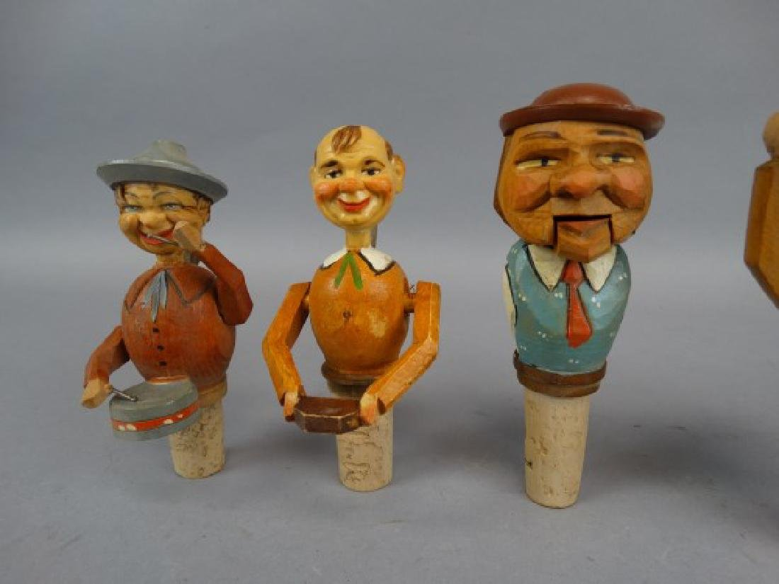 Lot of 7 German Carved & Animated Wine Stoppers - 4