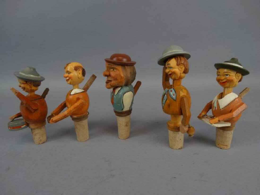 Lot of 7 German Carved & Animated Wine Stoppers - 5