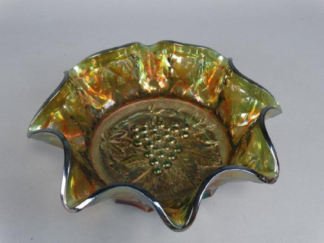 Large Ruffle Edged Carnival Glass Grape Bowl