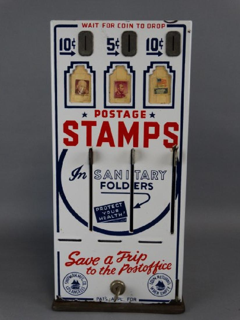 Vintage Porcelain Stamp Machine