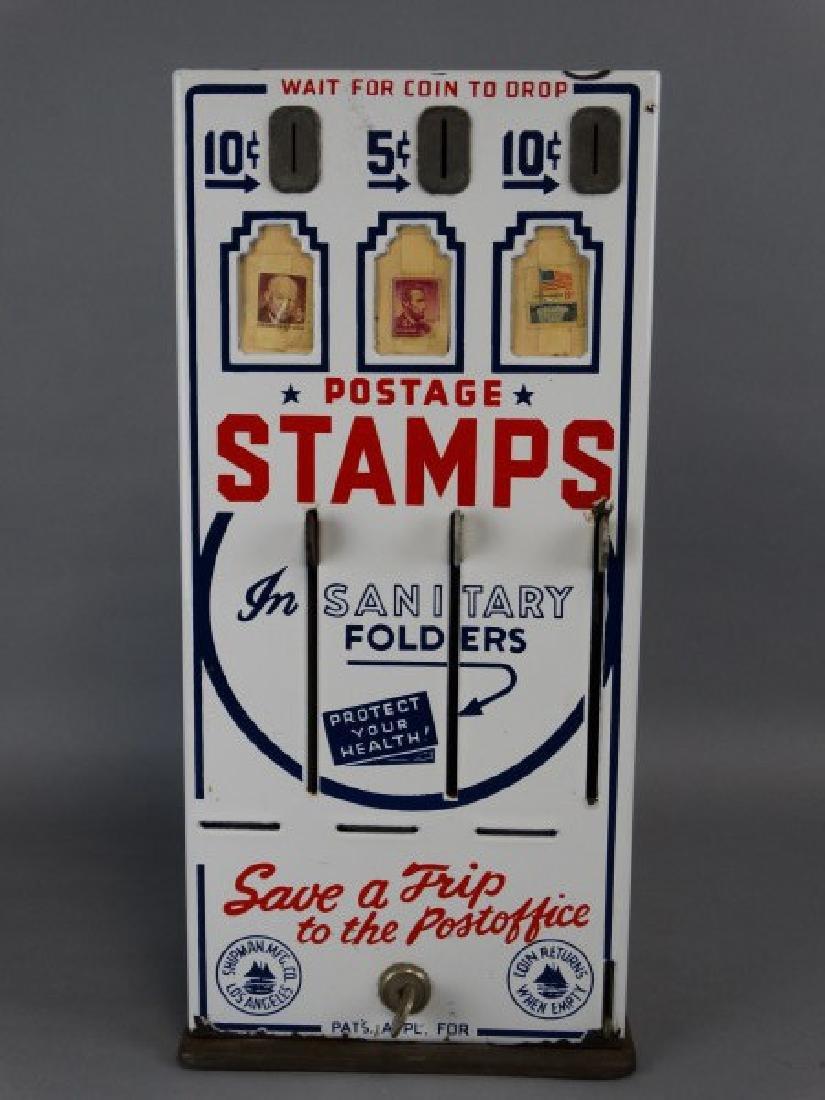 Vintage Porcelain Stamp Machine