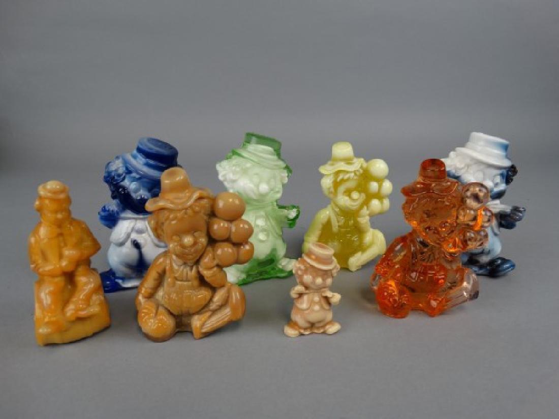 Lot of 8 Vintage Slag Glass Clowns