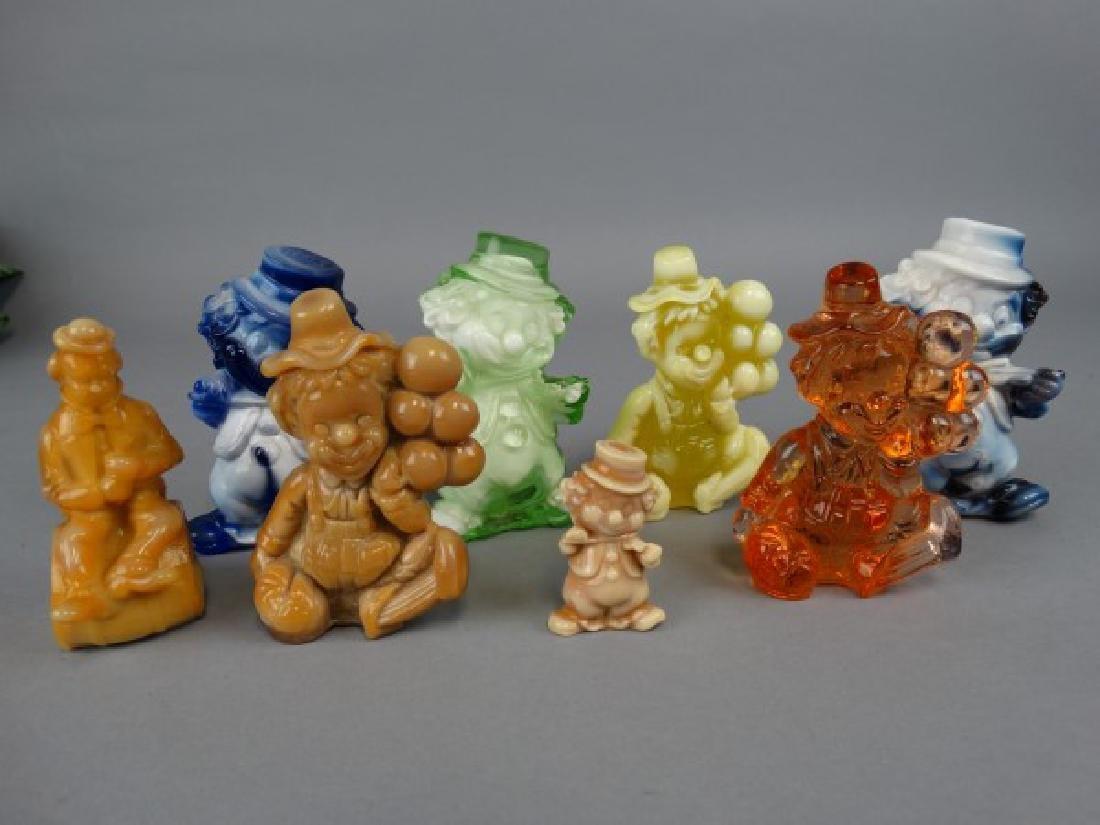 Lot of 8 Vintage Slag Glass Clowns - 2